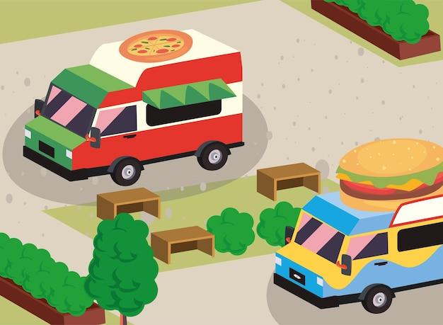 Isometric hamburger and pizza food truck
