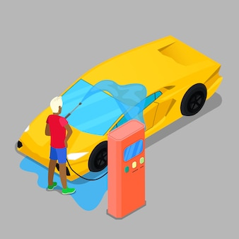 Isometric hand car wash. driver washing car