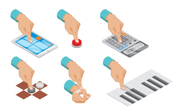 Isometric hand indicates gesture set with button press tablet touch calculator counting plaster paste piano checkers playing isolated