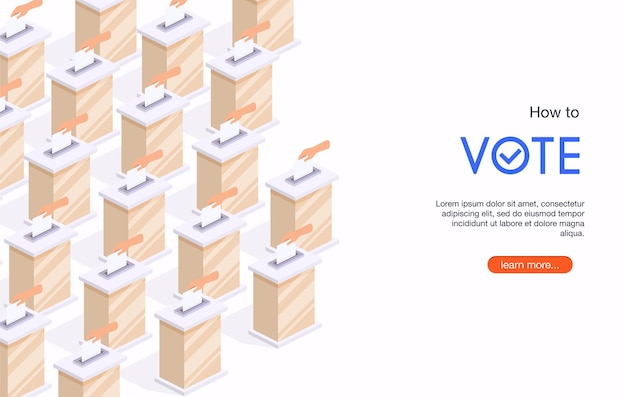Isometric hand putting voting paper in the ballot box
