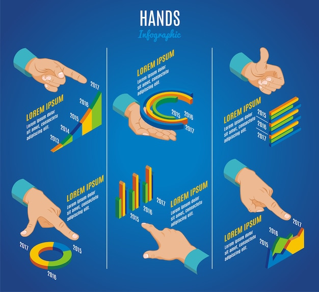 Isometric hands infographic concept with indicate hold okay showing touch gestures and business diagrams graphs charts isolated
