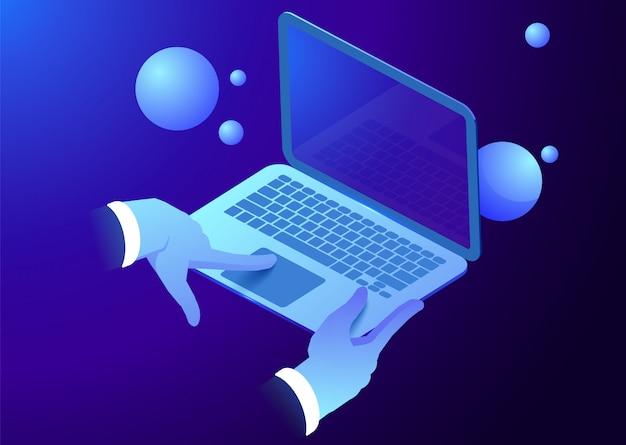 ノートパソコンのキーボードに等尺性の手。男の仕事、あなたのデザインのテンプレート。