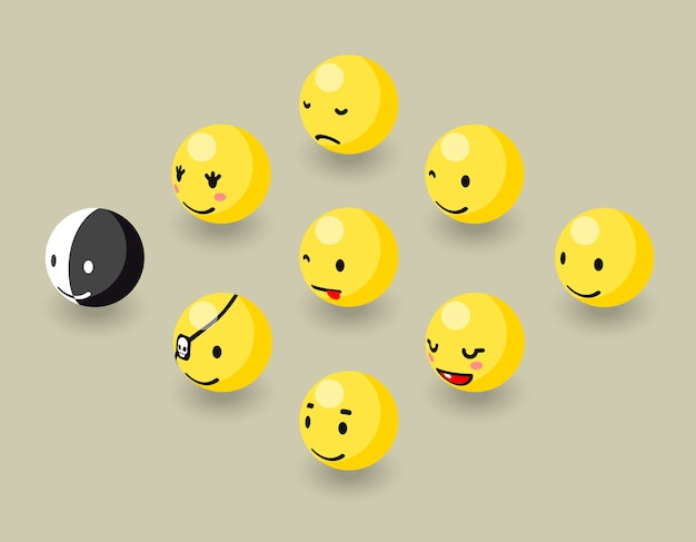 Isometric happy face bubbles game elements.