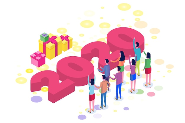 Isometric happy new 2020 shining