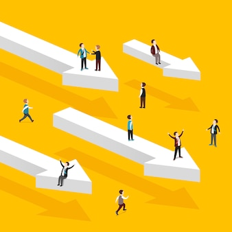 Isometric  of heading for success concept