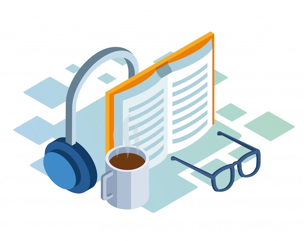 Isometric  of headphones, book and coffee mug over white background