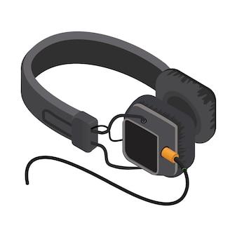 Isometric headphones  vector illustration.