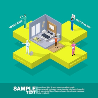 Isometric health medicine protection coronavirus horizontal flowchart composition with text captions and icons of symptoms with people vector illustration.
