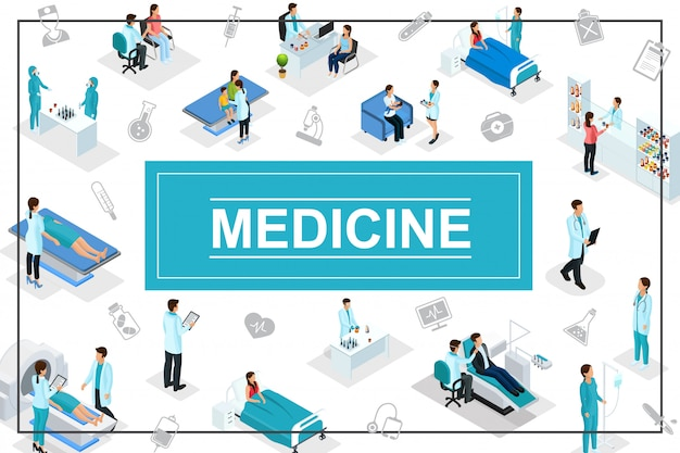 Isometric healthcare composition with doctors patients medical consultation diagnostic procedures pharmacy laboratory research medicine icons