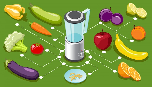 Isometric healthy food concept with blender nuts organic fresh natural vegetables and fruits isolated