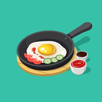 Isometric healthy and nutritious breakfast illustration