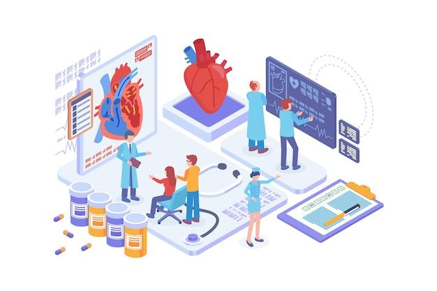 Isometric heart disease diagnosis concept