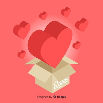 Isometric heart with box background