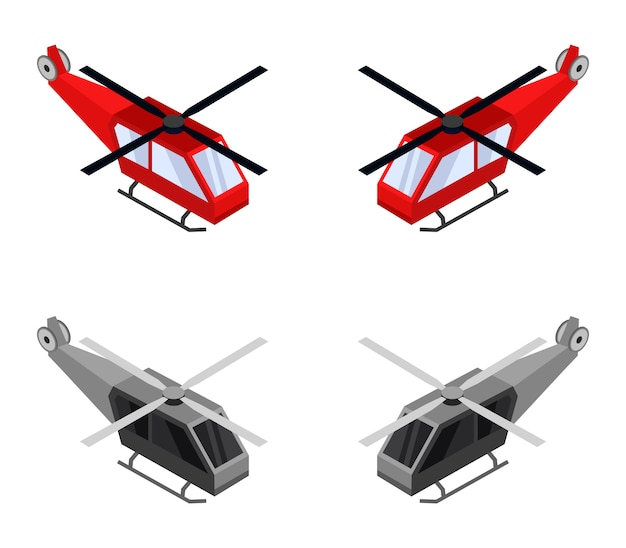 Isometric helicopter set