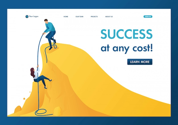 Isometric the help mentor to achievement the goal, climb the path to success landing page