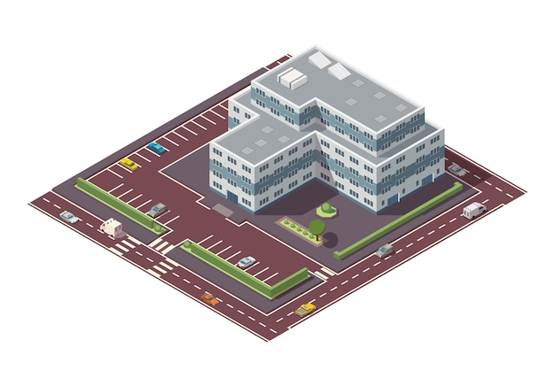Isometric high rise building and street elements with place for parking. city or town map construction element. icon representing multi story building. houses, homes or offices.