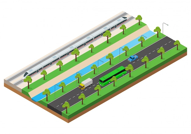 Isometric the high speed train runs on the rails