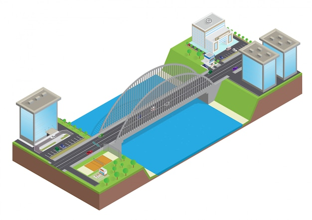 Изометрические шоссе на мосту через реку