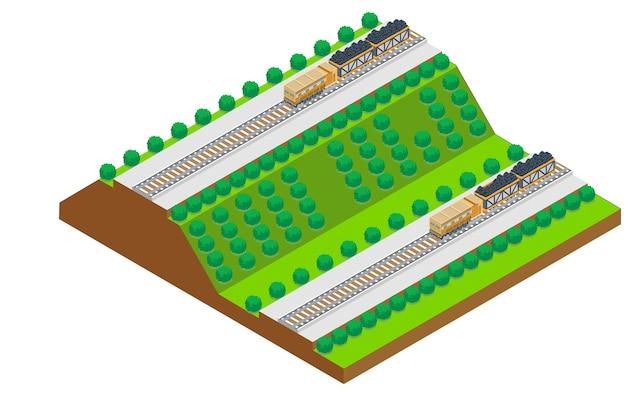 Isometric highway, vector illustration