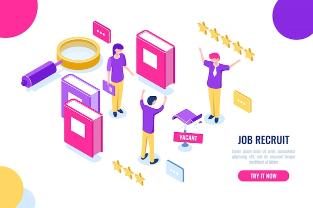 Isometric hire and recruit worker concept, vacant place, hr human resources, personnel assessment