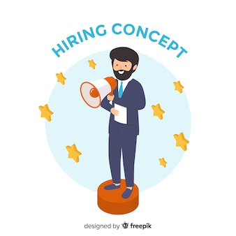 Isometric hiring businessman illustration