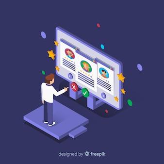 Isometric hiring concept background
