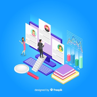 Isometric hiring concept illustration