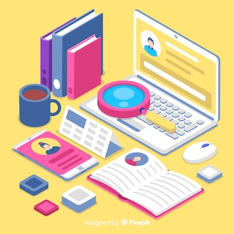 Isometric hiring concept illustration