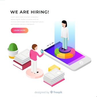 Isometric hiring illustration template