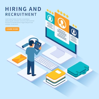 Isometric hiring illustration template
