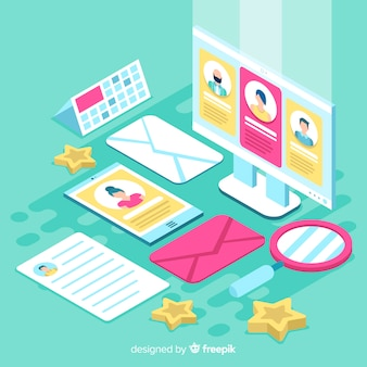 Isometric hiring illustration