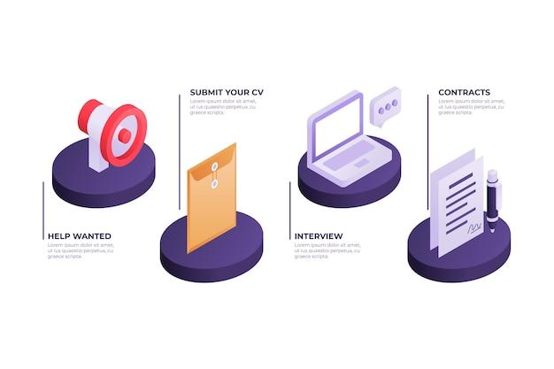Isometric hiring process concept