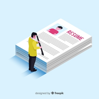 Isometric hiring resume illustration