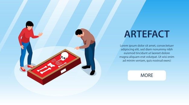 Isometric historical museum horizontal banner with more button editable text and two visitors watching ancient skeleton