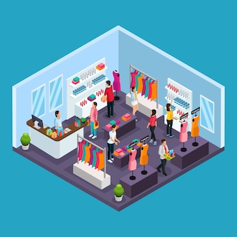 Isometric holiday shopping template with people buying garments and costumes in clothing store isolated