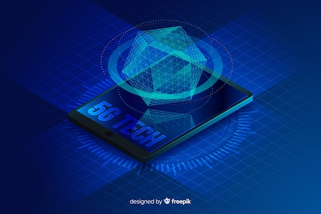 Isometric hologram 5g concept background
