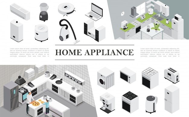 Isometric home appliances composition with father and son cooking pizza on kitchen and different modern domestic appliances and devices