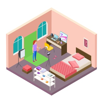 Isometric home blogging vector. teenager teenager makes video about cosmetics on chromakey