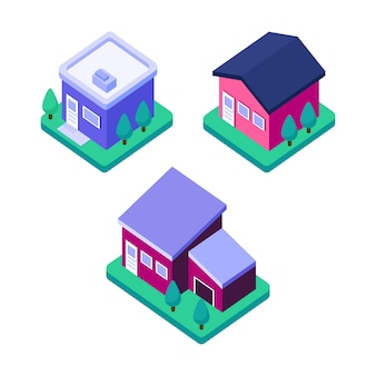 Isometric home building, modern estate house design