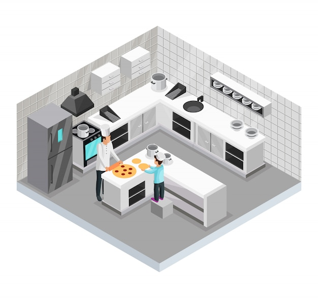 Isometric home cooking template of father preparing pizza with his son in kitchen isolated