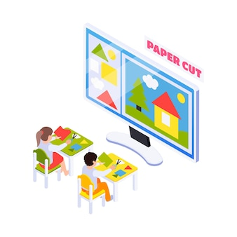 Isometric home education composition with kids having handicraft online lesson on computer