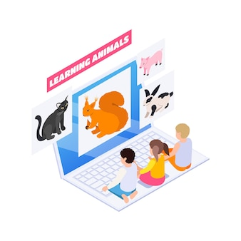 Isometric home education with little children learning animals online on laptop