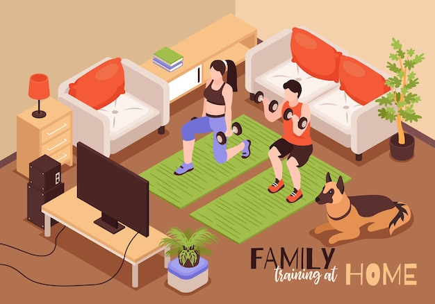 Isometric home fitness family composition of text with living room scenery and couple practicing with barbells