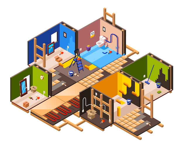 Isometric home interior renovation and repair work process stages in house cross section.