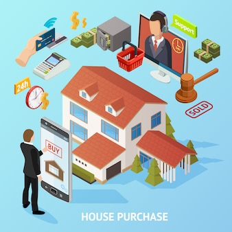 Isometric home purchase background