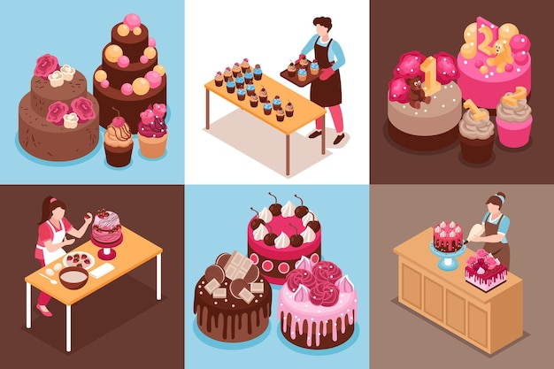 Isometric homemade cake compositions set with wedding modern and for children cakes and cupcakes