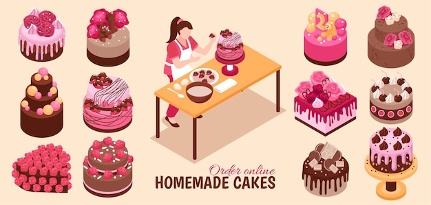 Isometric homemade cake set with isolated images of confectionery products with various toppings and editable text illustration
