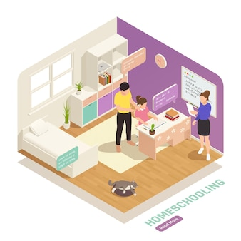 Isometric homeschooling composition with girl studying online at home