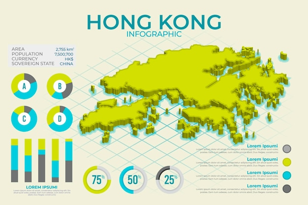 Isometric hong kong map graphics