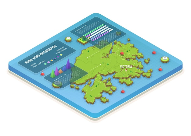 Isometric hong kong map infographics